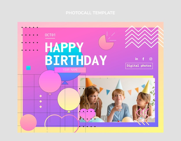 Gradient colorful birthday photocall