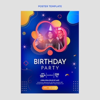Gradient colorful birthday poster