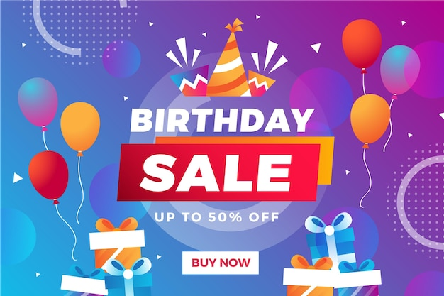 Sfondo di vendita di compleanno colorato sfumato