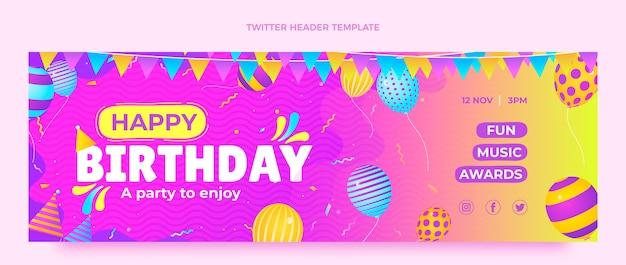 グラデーションのカラフルな誕生日のtwitterヘッダー
