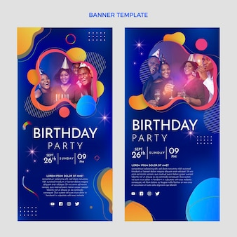 Gradient colorful birthday vertical banners