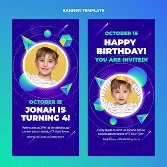 Bandiere verticali di compleanno colorate sfumate