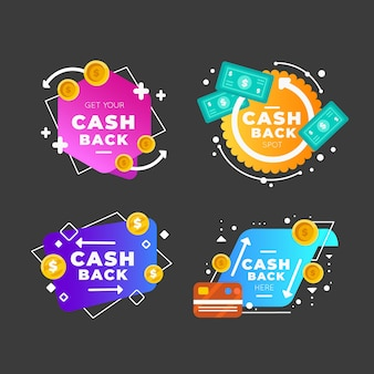 Gradient colorful cashback labels