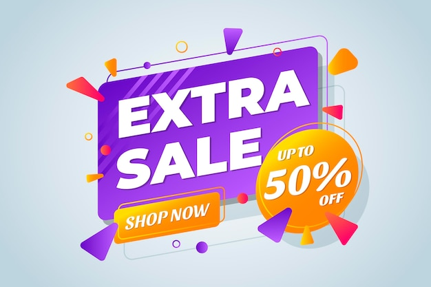 Gradient colorful extra sale background