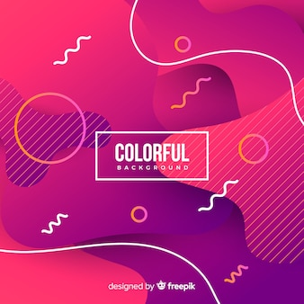 Gradient colorful fluid shapes background