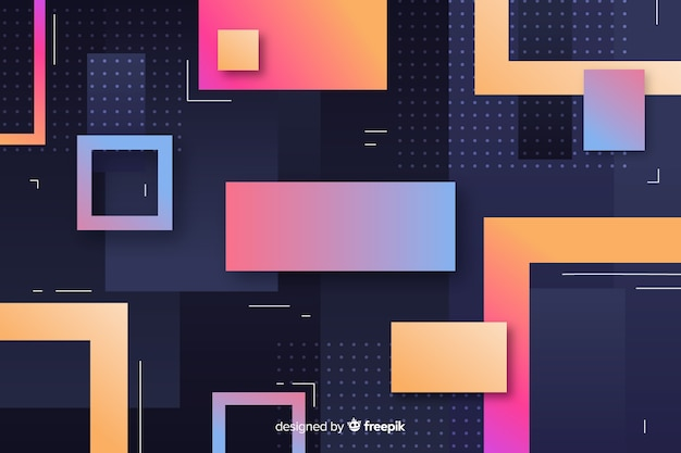Gradient colorful geometric models background