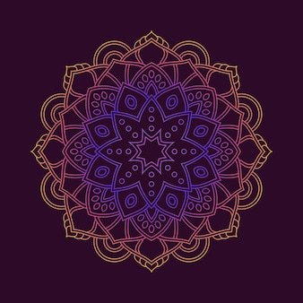 Gradient colorful mandala pattern background wallpaper. floral motif in neon color. arabesque fabric textile.