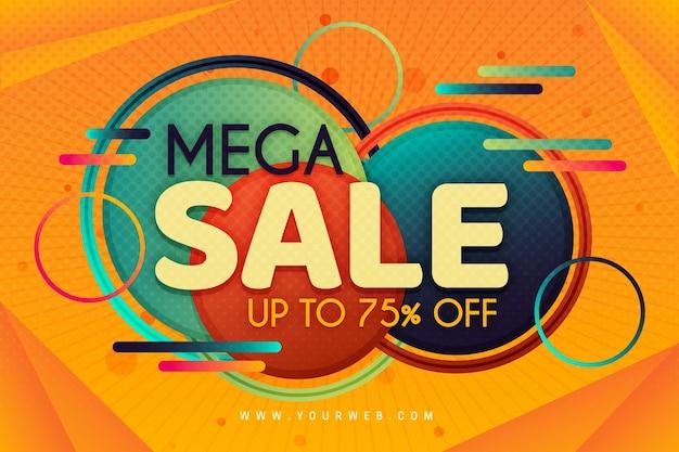 Gradient colorful mega sale background