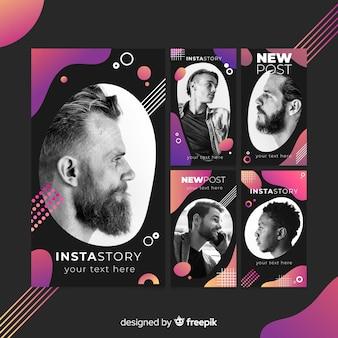 Gradient colorful memphis instagram stories template