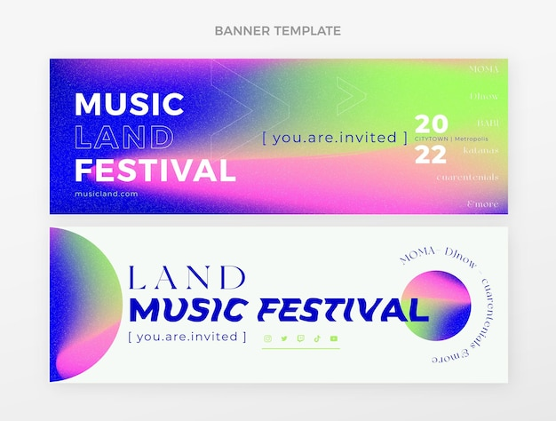 Gradient colorful music festival banners horizontal