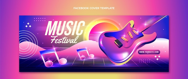 Gradient colorful music festival facebook cover template