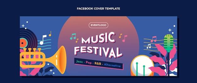Gradient colorful music festival facebook cover