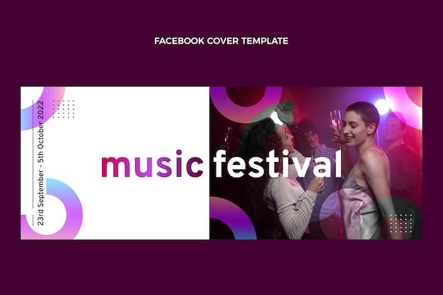 グラデーションカラフルな音楽祭のfacebookカバー