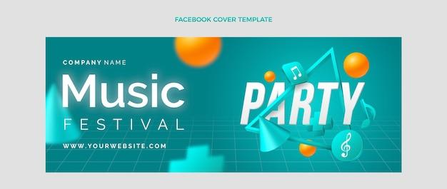 Градиент красочный музыкальный фестиваль обложка facebook