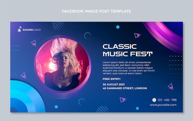 Gradient colorful music festival facebook post