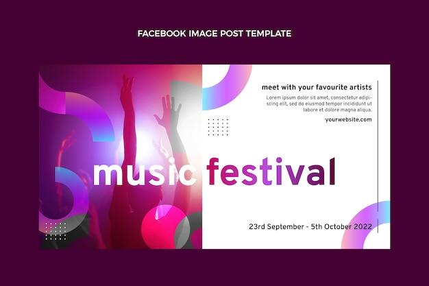 グラデーションカラフルな音楽祭のfacebookの投稿