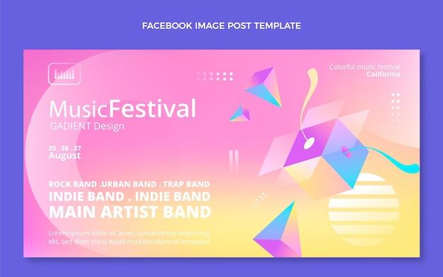 Post di facebook del festival musicale colorato sfumato