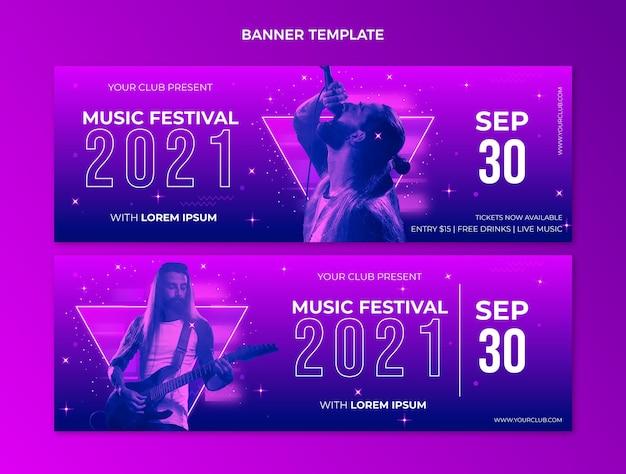 グラデーションのカラフルな音楽祭の水平バナー