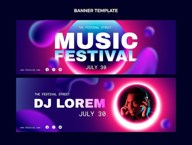 Gradient colorful music festival horizontal banners