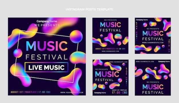 グラデーションのカラフルな音楽祭のigの投稿