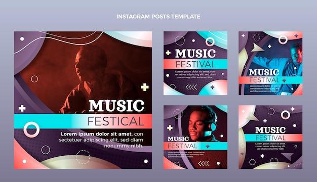 Gradient colorful music festival instagram post