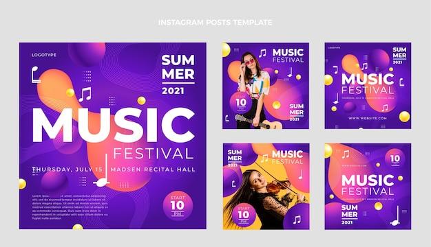 Пост в instagram с градиентным красочным музыкальным фестивалем