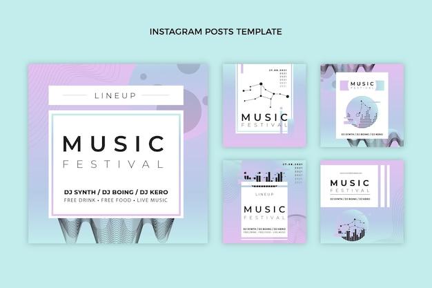グラデーションのカラフルな音楽祭のinstagramの投稿