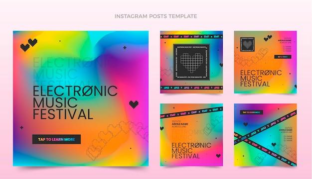 Gradient colorful music festival instagram posts