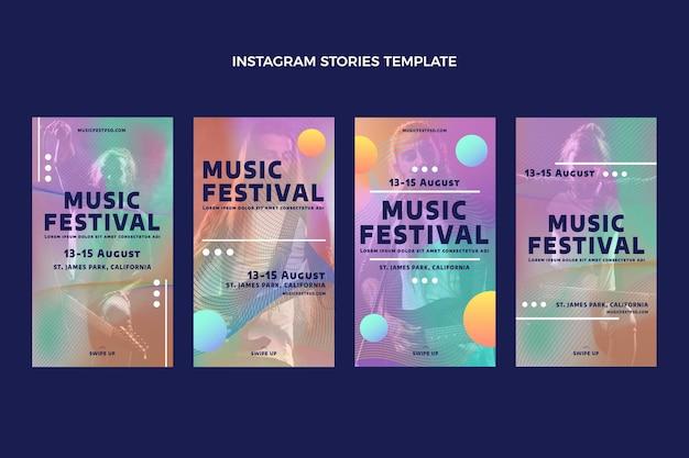 Storie di instagram del festival musicale colorato sfumato