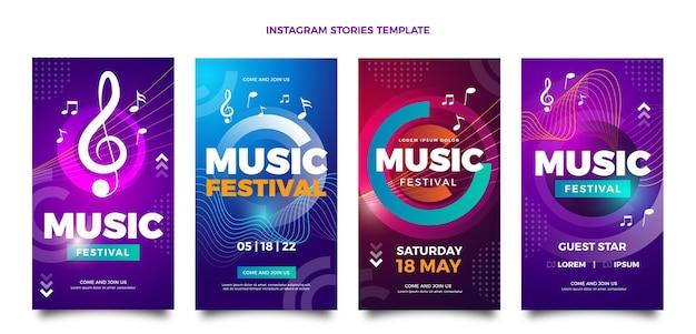 グラデーションのカラフルな音楽祭のinstagramの物語