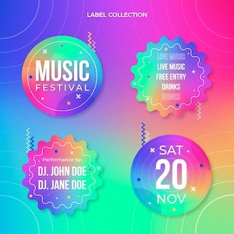 Etichette colorate per festival musicali sfumati