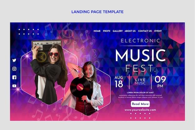 그라디언트 다채로운 음악 축제 방문 페이지 템플릿