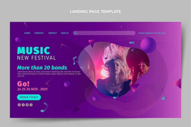 Gradient colorful music festival landing page template