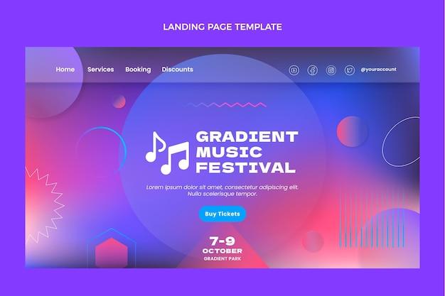 Gradient colorful music festival landing page