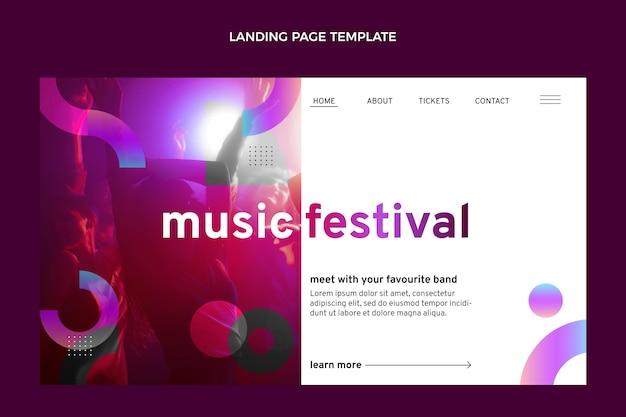 グラデーションのカラフルな音楽祭のランディングページ