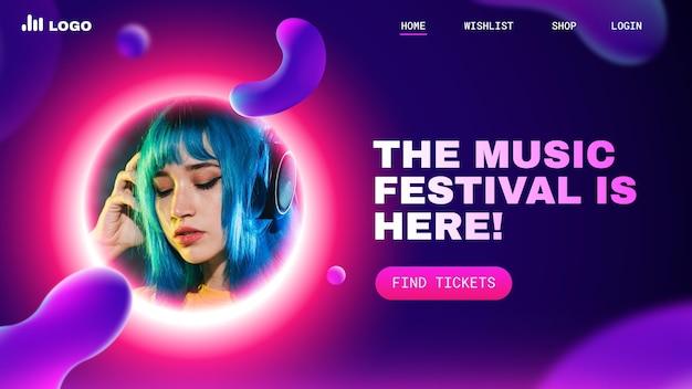 Целевая страница фестиваля градиентной красочной музыки