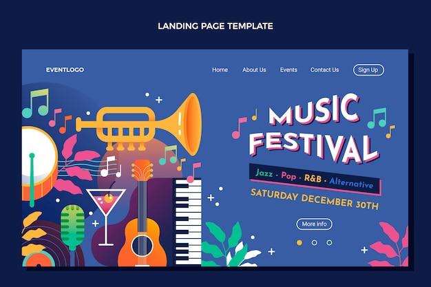 그라디언트 다채로운 음악 축제 방문 페이지