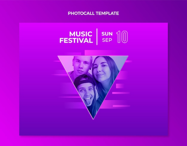 Gradient colorful music festival photocall