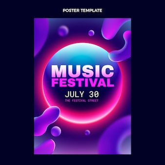 Gradient colorful music festival poster