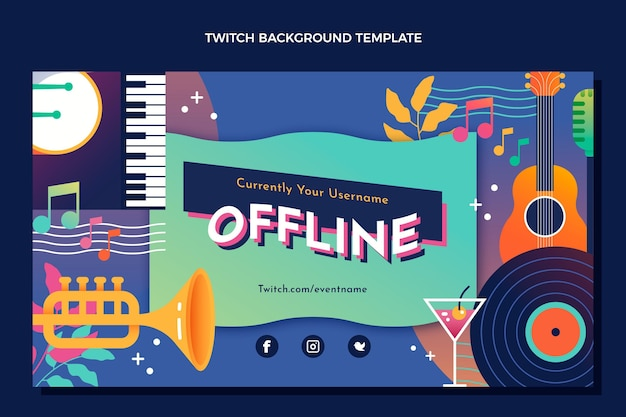Gradient colorful music festival twitch background