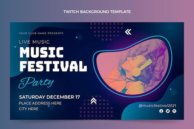 그라디언트 다채로운 음악 축제 트 위치 배경