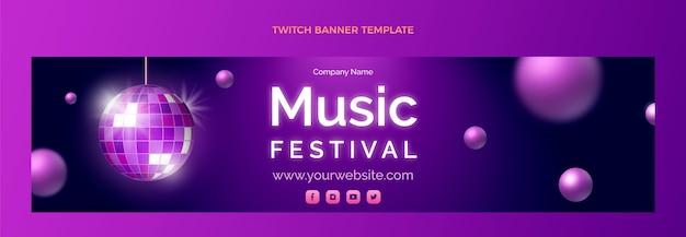 그라디언트 다채로운 음악 축제 트위치 배너