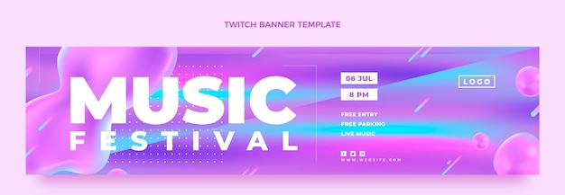 Gradient colorful music festival twitch banner