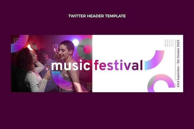 グラデーションカラフルな音楽祭のツイッターヘッダー