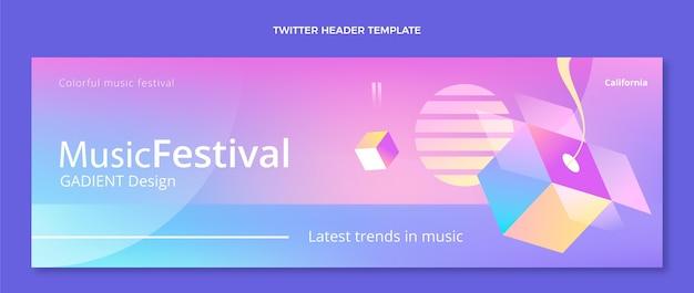 그라데이션 다채로운 음악 축제 트위터 헤더