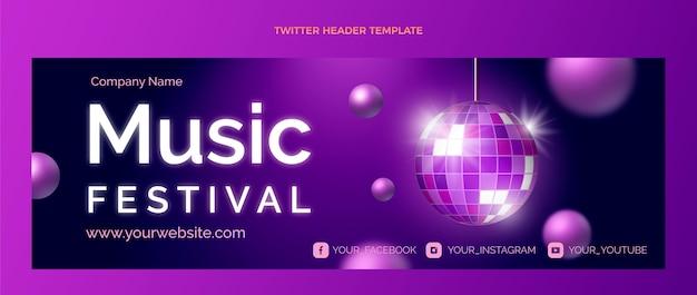 Заголовок twitter фестиваля градиентной красочной музыки