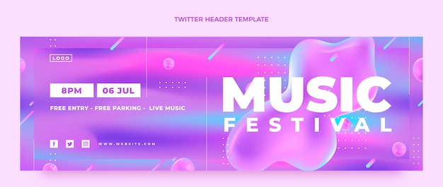 Gradient colorful music festival twitter header