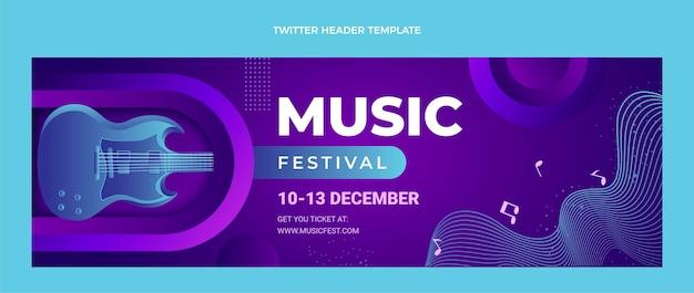 Intestazione twitter del festival musicale colorato sfumato