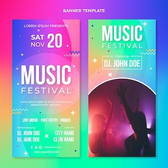 グラデーションカラフルな音楽祭の垂直バナー 無料ベクター