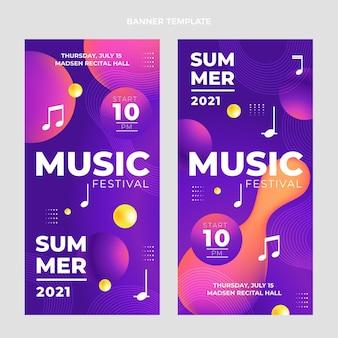 Bandiere verticali del festival musicale colorato sfumato